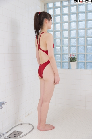 Asami Kondo Red Swimming Race Swimsuit Images006