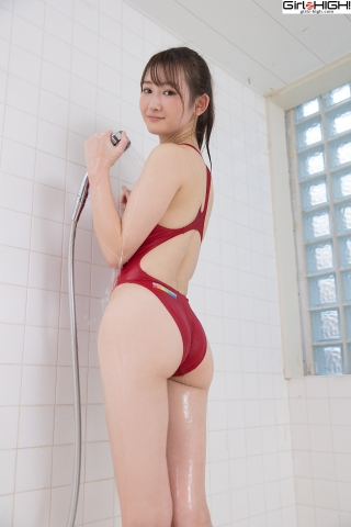 Asami Kondo Red Swimming Race Swimsuit Images020