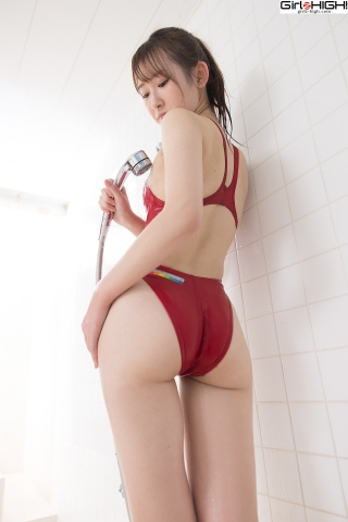 Asami Kondo Red Swimming Race Swimsuit Images023