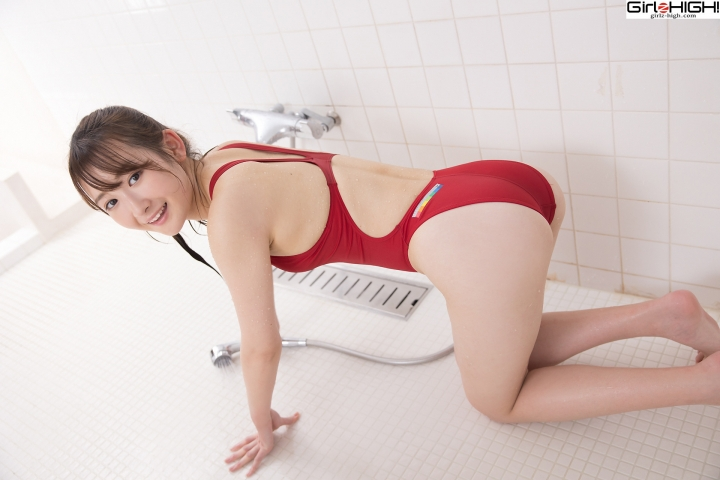 Asami Kondo Red Swimming Race Swimsuit Images036