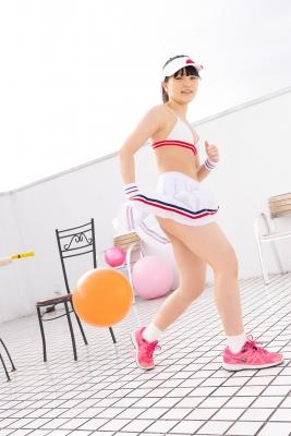 Hinako Tamaki White Swimsuit Tennis Girl015