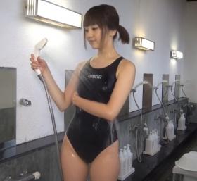 Shoko Hamada tight black swimming suit image shower bath arena arena024