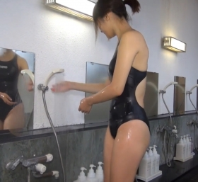 Shoko Hamada tight black swimming suit image shower bath arena arena026