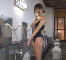 Shoko Hamada tight black swimming suit image shower bath arena arena035