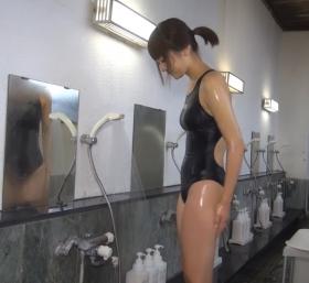 Shoko Hamada tight black swimming suit image shower bath arena arena034