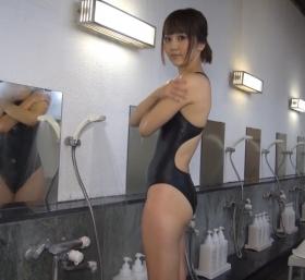 Shoko Hamada tight black swimming suit image shower bath arena arena032