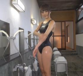 Shoko Hamada tight black swimming suit image shower bath arena arena037