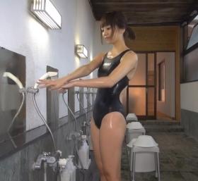 Shoko Hamada tight black swimming suit image shower bath arena arena038