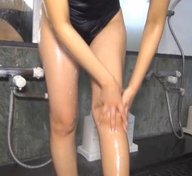 Shoko Hamada tight black swimming suit image shower bath arena arena068