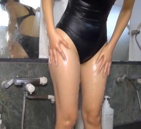 Shoko Hamada tight black swimming suit image shower bath arena arena071
