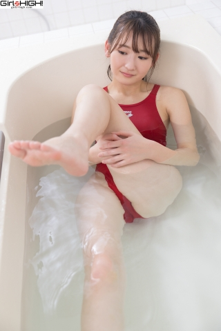 Asami Kondo Red Swimming Race Swimsuit Images Bathing Bathroom010