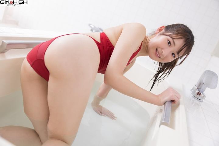 Asami Kondo Red Swimming Race Swimsuit Images Bathing Bathroom028