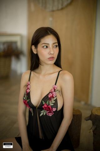 Gsu Floral bikini Black bikini Korean gravure model004