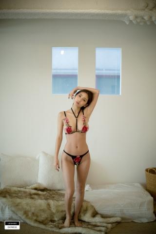 Gsu Floral bikini Black bikini Korean gravure model009