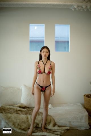 Gsu Floral bikini Black bikini Korean gravure model008