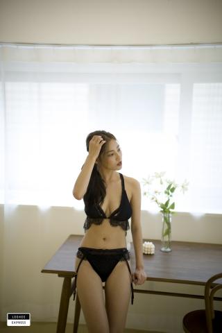 Gsu Floral bikini Black bikini Korean gravure model029