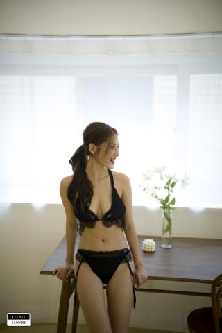 Gsu Floral bikini Black bikini Korean gravure model030