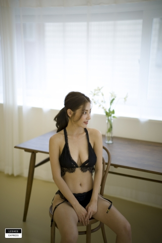 Gsu Floral bikini Black bikini Korean gravure model033