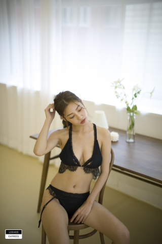 Gsu Floral bikini Black bikini Korean gravure model038