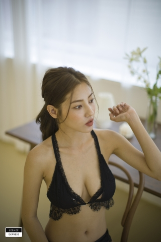 Gsu Floral bikini Black bikini Korean gravure model039