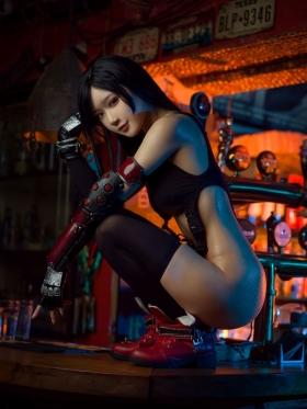 Tifa Lockhart Transformation Swimsuit Exposed Cosplay Final Fantasy VII017