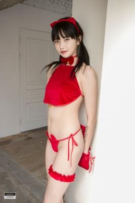 Red string bikini Korean girl027