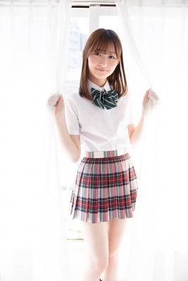 Asami Kondo School Uniform Orange Pink Bikini002