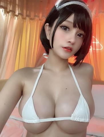 White Swimsuit Super Small White Bikini Micro Bikini White Harness Nurse018