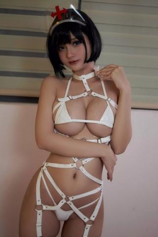 White Swimsuit Super Small White Bikini Micro Bikini White Harness Nurse027