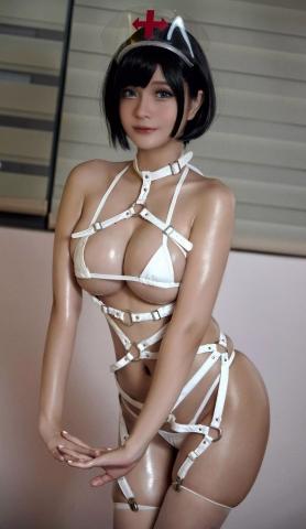 White Swimsuit Super Small White Bikini Micro Bikini White Harness Nurse029