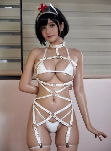 White Swimsuit Super Small White Bikini Micro Bikini White Harness Nurse030