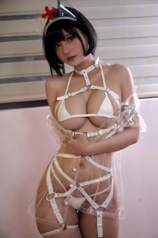 White Swimsuit Super Small White Bikini Micro Bikini White Harness Nurse026