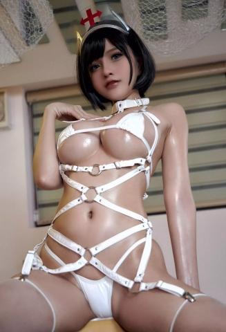 White Swimsuit Super Small White Bikini Micro Bikini White Harness Nurse034