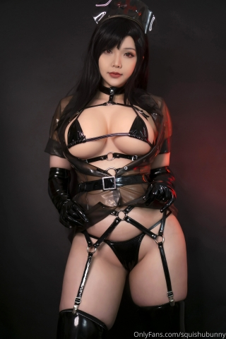 Black swimsuit Black bikini Ultrasmall bikini Dark nurse Tifa cosplay001