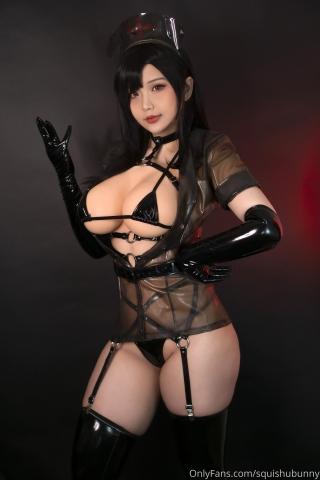 Black swimsuit Black bikini Ultrasmall bikini Dark nurse Tifa cosplay002