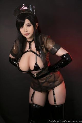 Black swimsuit Black bikini Ultrasmall bikini Dark nurse Tifa cosplay003