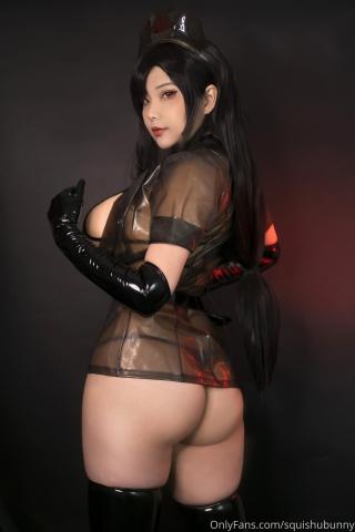 Black swimsuit Black bikini Ultrasmall bikini Dark nurse Tifa cosplay004