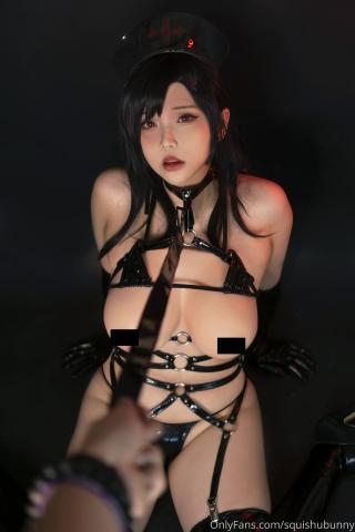 Black swimsuit Black bikini Ultrasmall bikini Dark nurse Tifa cosplay010