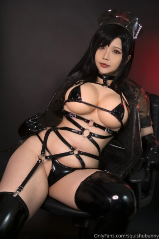 Black swimsuit Black bikini Ultrasmall bikini Dark nurse Tifa cosplay007