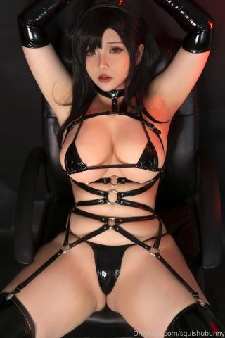 Black swimsuit Black bikini Ultrasmall bikini Dark nurse Tifa cosplay008