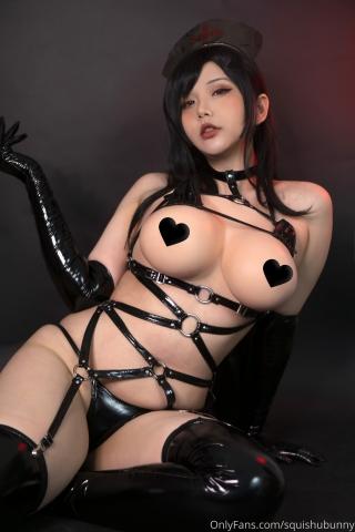 Black swimsuit Black bikini Ultrasmall bikini Dark nurse Tifa cosplay011