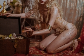 Blonde dancer cosplay swimsuit gravure039