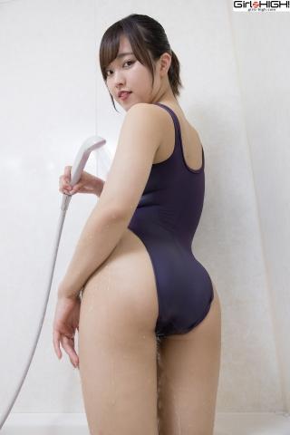 Anju Kouzuki Swimming Race Swimsuit Images FILA Shower014
