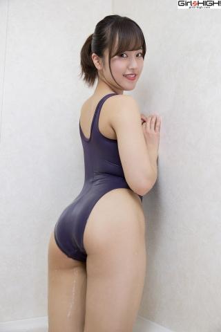 Anju Kouzuki Swimming Race Swimsuit Images FILA Shower023