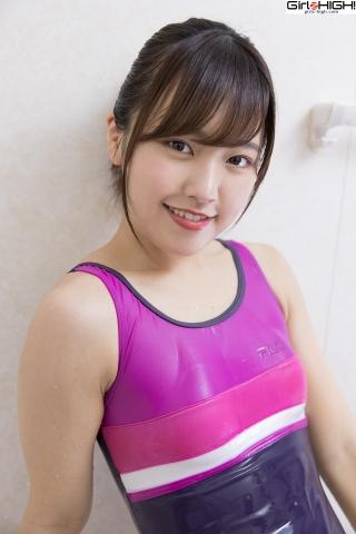 Anju Kouzuki Swimming Race Swimsuit Images FILA Shower032