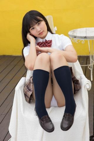 Kurumi Miyamaru School Uniform Girl Punching Pants White Swimsuit Bikini007