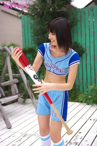 Miu Nakamura Baseball girl pink swimsuit bikini gravure014