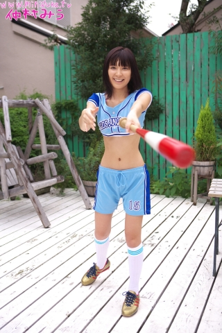 Miu Nakamura Baseball girl pink swimsuit bikini gravure013