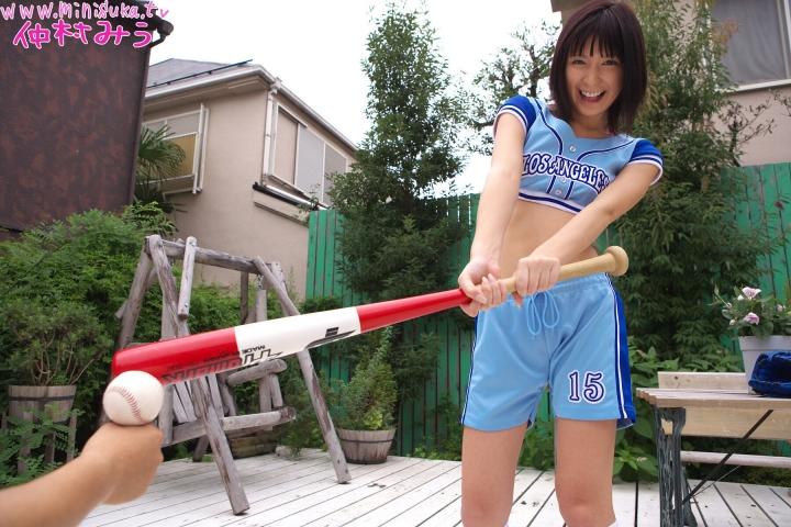 Miu Nakamura Baseball girl pink swimsuit bikini gravure015