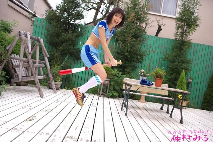 Miu Nakamura Baseball girl pink swimsuit bikini gravure017
